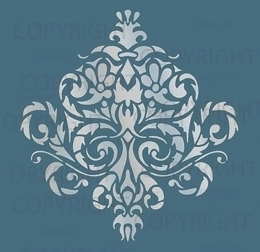 LARGE WALL DAMASK STENCIL PATTERN FAUX MURAL #1010 | eBay
