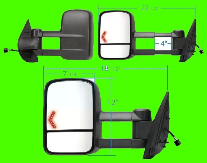 chevy silverado new style 1500 2500 3500 2007 2011 power signal tow mirror pair ebay. Black Bedroom Furniture Sets. Home Design Ideas