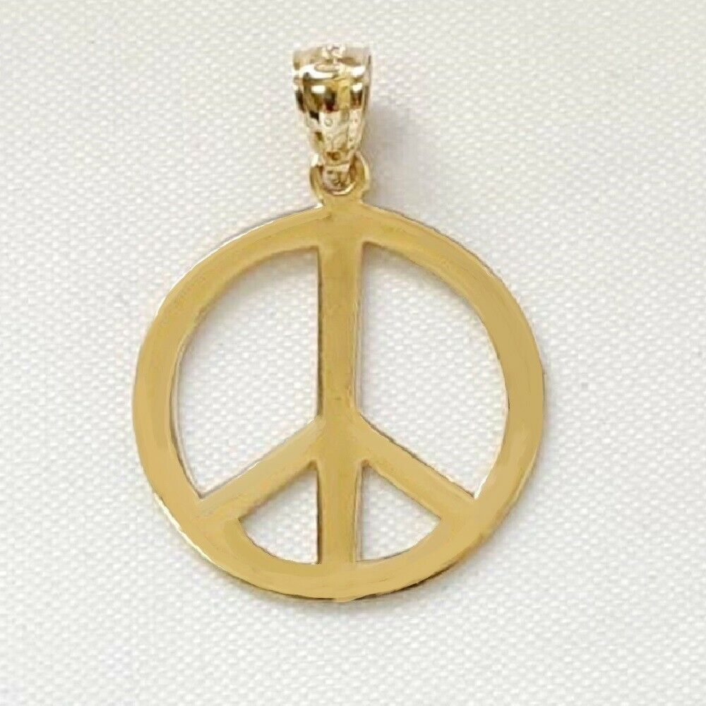 14k Yellow Gold PEACE Sign Symbol Pendant / Charm, Made in ...