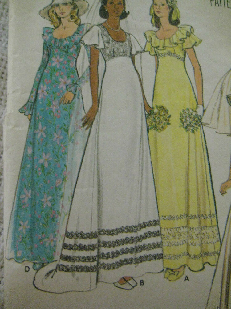 Vintage 70 39 s butterick 3491 bridal wedding gown dress for Wedding dress patterns vintage