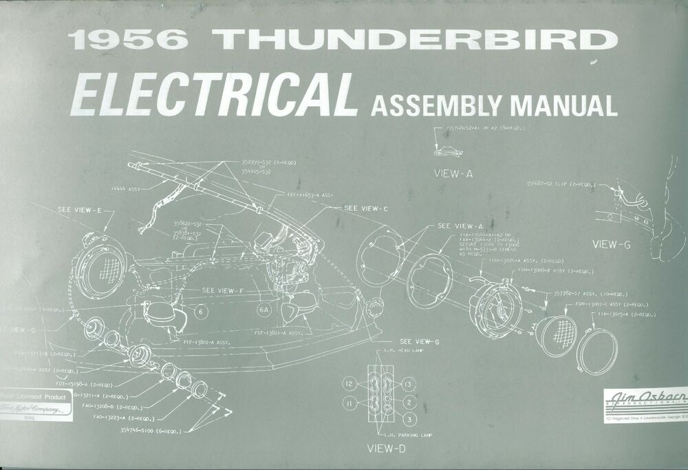 1956 FORD THUNDERBIRD ELECTRICAL ASSEMBLY MANUAL | eBay