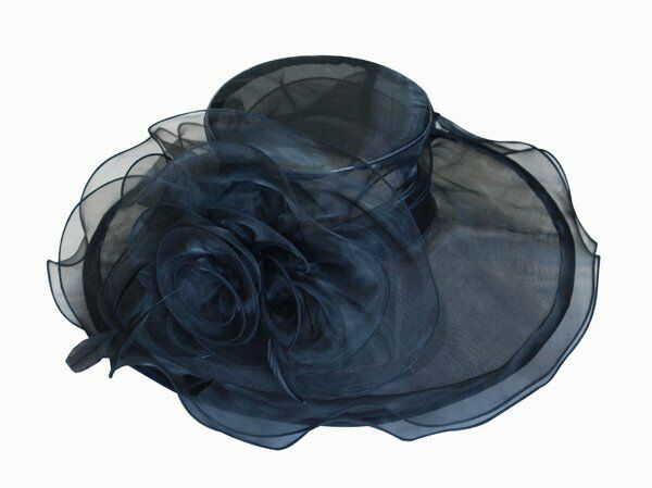 eleganter damenhut schwarz organza hut brauthut organzahut hochzeit kopfschmuck ebay. Black Bedroom Furniture Sets. Home Design Ideas