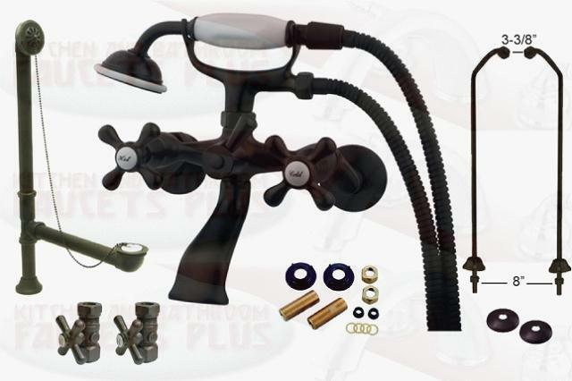 Oil Rubbed Bronze Clawfoot Tub Faucet Package Kit With