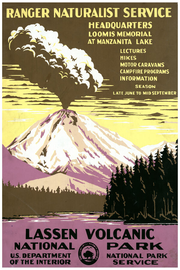 2725 lassen volcanic national park service u s vintage poster decorative art ebay. Black Bedroom Furniture Sets. Home Design Ideas