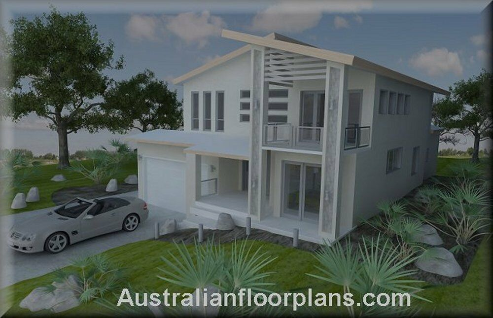 2 storey home hillside construction floor plans blue for House plans for sale