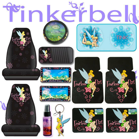 New 12 PC Tinkerbell Fearless Car Seat Covers Wheel Cover Mats Set ...