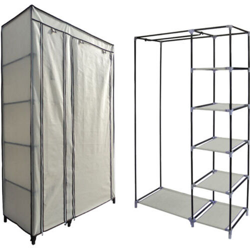 Canvas Storage Boxes For Wardrobes: NEW BEIGE DOUBLE CANVAS WARDROBE CLOTHES HANGING RAIL