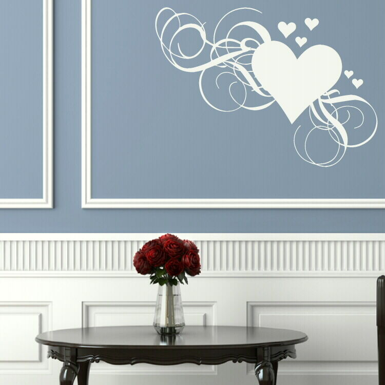 LOVE HEART FLORAL FLOWER WALL STICKER WALL DECAL Giant