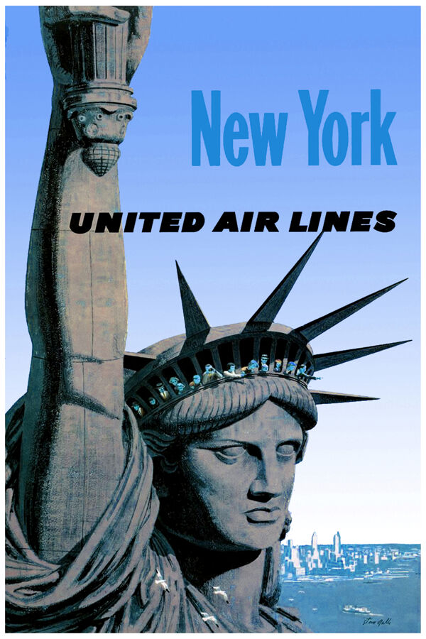 3016 united air line poster statue of liberty new york. Black Bedroom Furniture Sets. Home Design Ideas