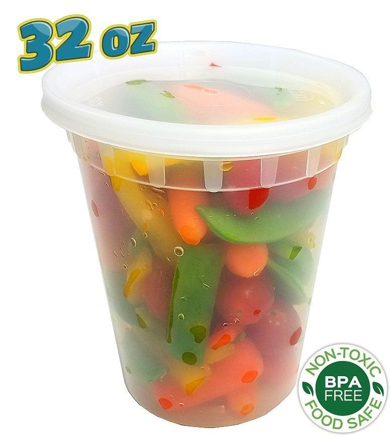240 sets 32 oz clear plastic soup food containers w lids combo microwaveable ebay. Black Bedroom Furniture Sets. Home Design Ideas