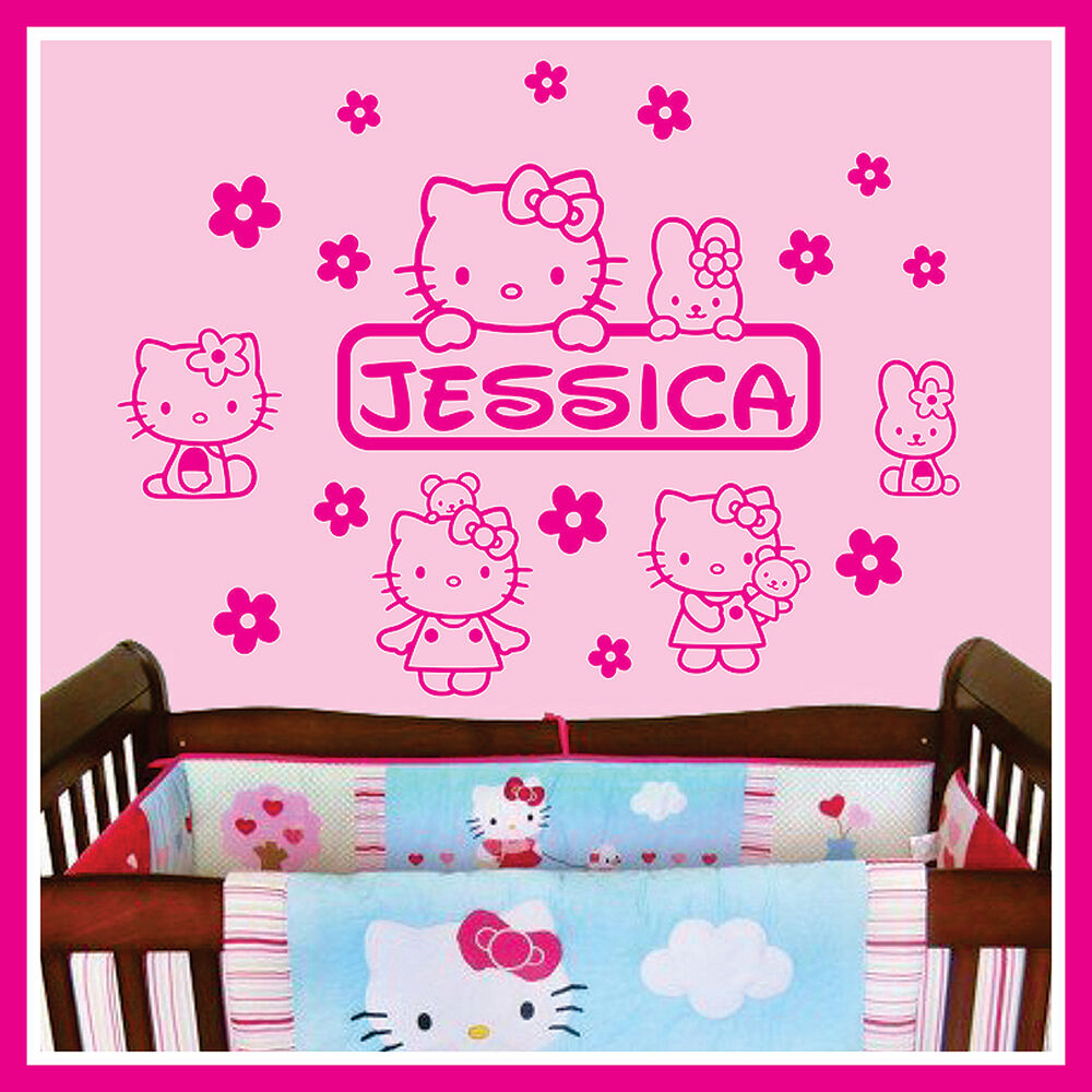 Baby name vinyl wall decal sticker art decor for kids for Baby room decoration wall stickers