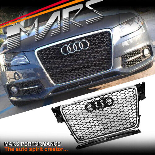 chrome black honeycomb rs4 style front bumper grille grill. Black Bedroom Furniture Sets. Home Design Ideas