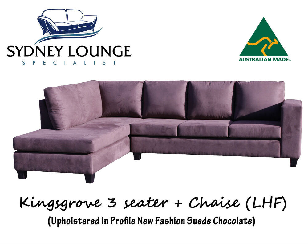brand new aus made kingsgrove suede chocolate 3 chaise modular sofa lounge ebay. Black Bedroom Furniture Sets. Home Design Ideas