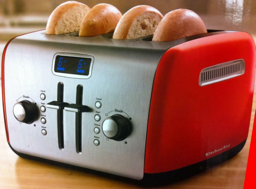 kitchenaid kmt422er 4 slice red digital stainless steel toaster with lcd display ebay. Black Bedroom Furniture Sets. Home Design Ideas