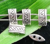 25 Tibetan Silver 2-holes Spacer Beads 9.7mm  A0053