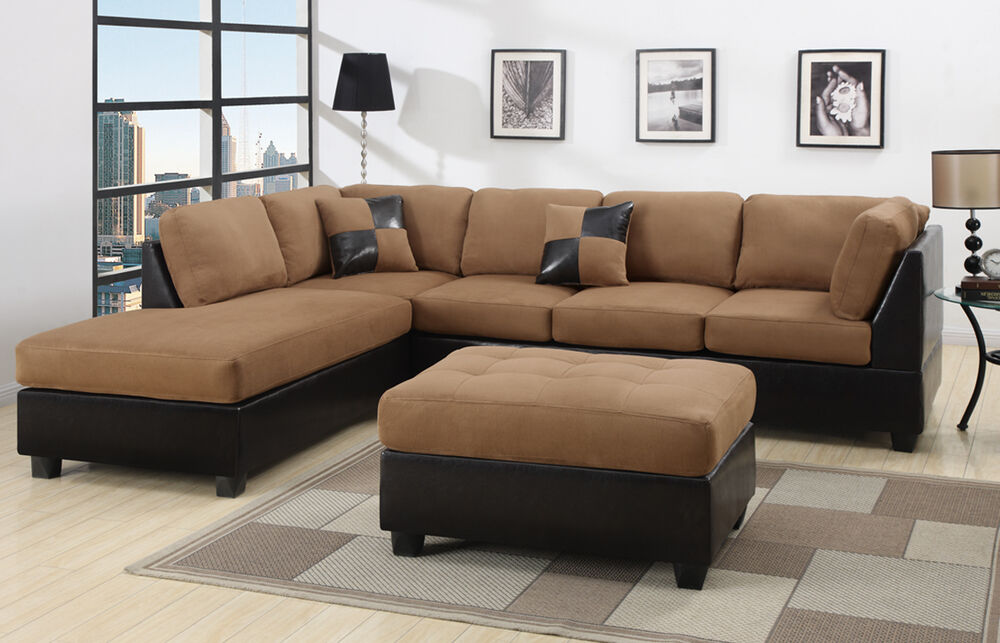 sectional sectionals sofa couch loveseat couches with free ottoman ebay. Black Bedroom Furniture Sets. Home Design Ideas