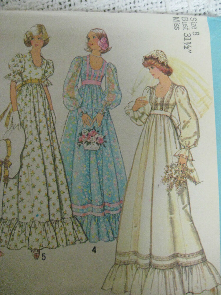 Vintage 70 39 s simplicity 7389 wedding dress bridal gown for Wedding dress patterns vintage
