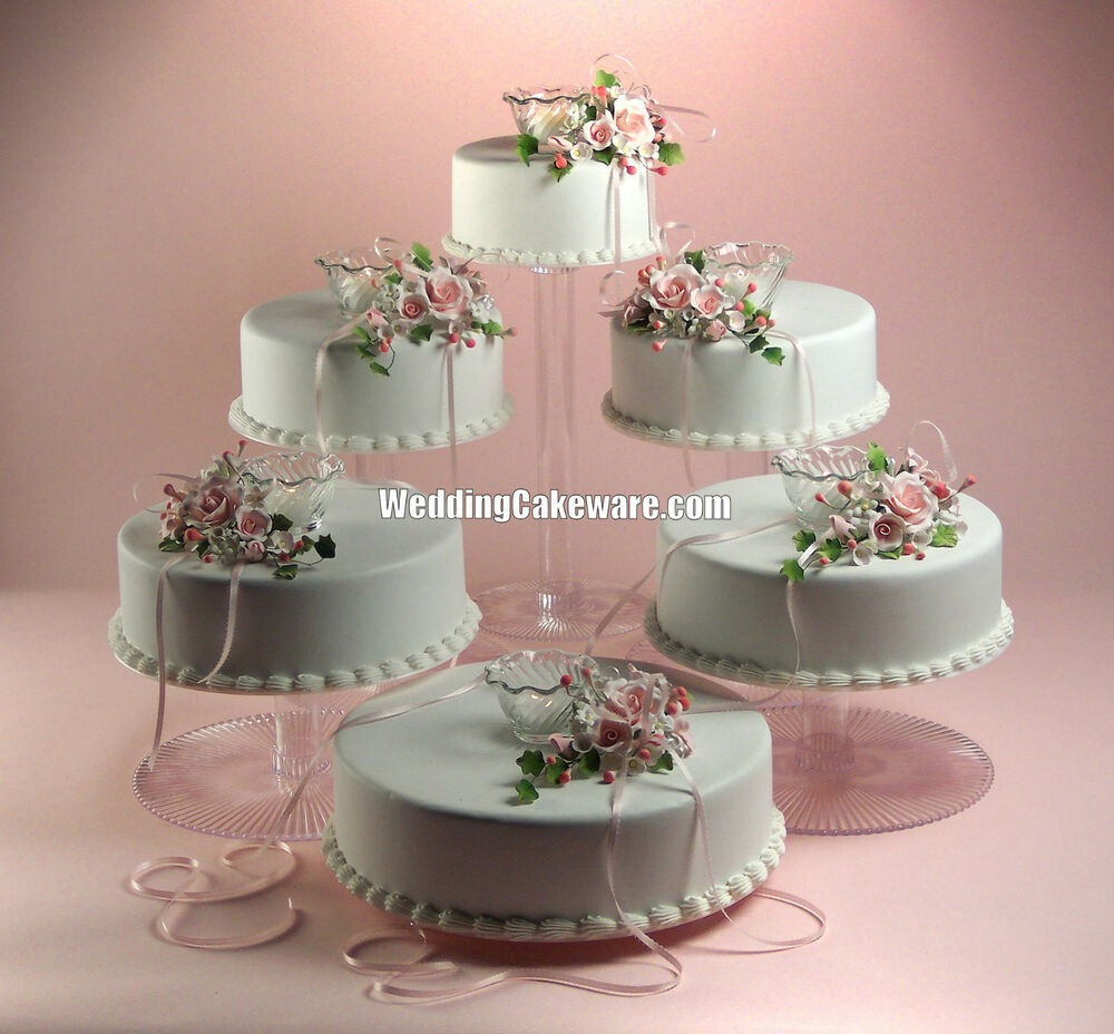 6 tier cascading wedding cake stand stands set ebay. Black Bedroom Furniture Sets. Home Design Ideas