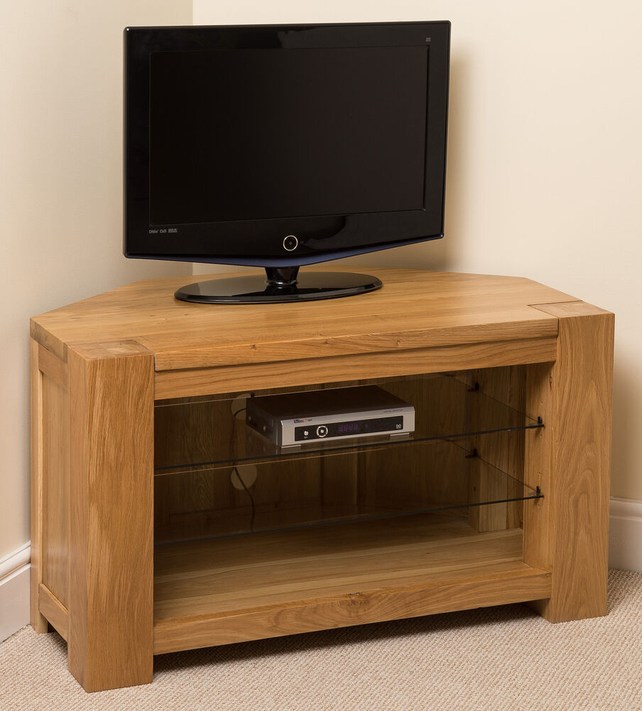 Kuba Solid Oak Wood Glass Corner Tv Hi Fi Cabinet Stand Unit Wooden Furniture Ebay