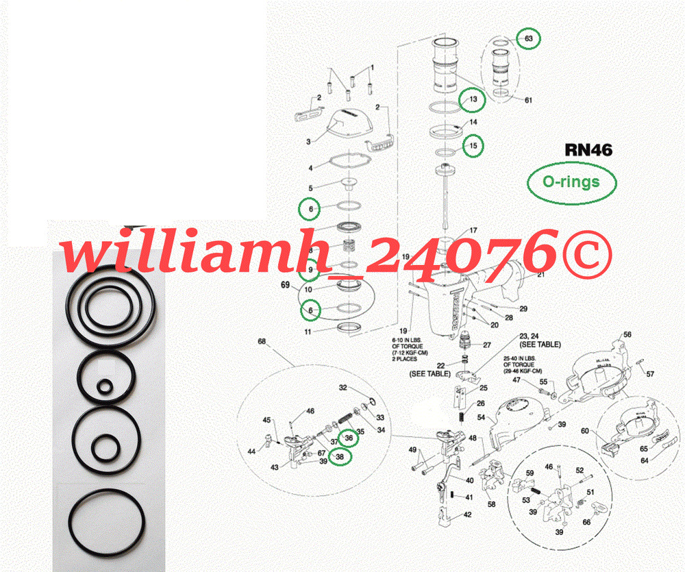 Bostitch Roofing Nailer Rn46 Rn46 1 O Ring Kit Parts