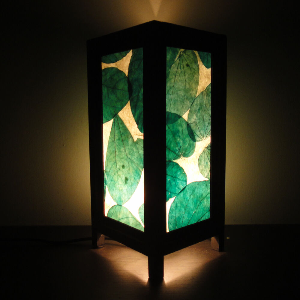 Green Lamp Painting : Asian oriental green leaves art zen home decor bedside