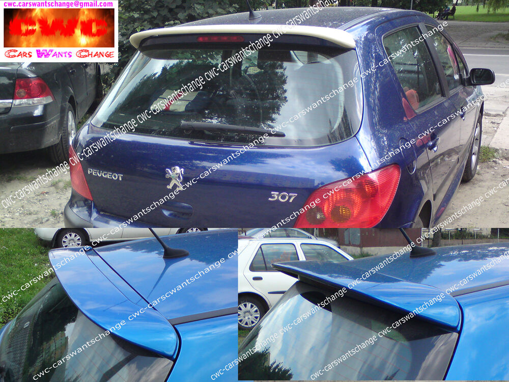 peugeot 307 gti look roof spoiler new new ebay. Black Bedroom Furniture Sets. Home Design Ideas