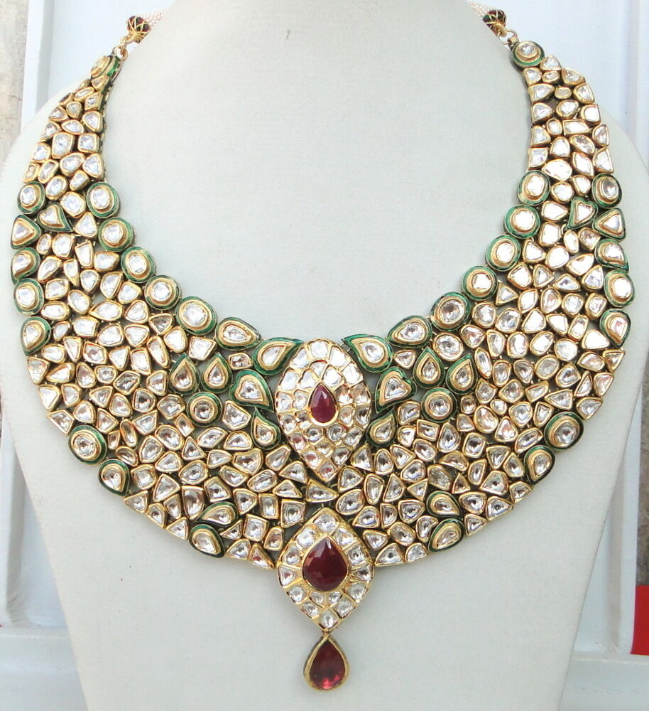 Vintage Antique Huge 20k Gold Diamond Polki Kundan Enamel