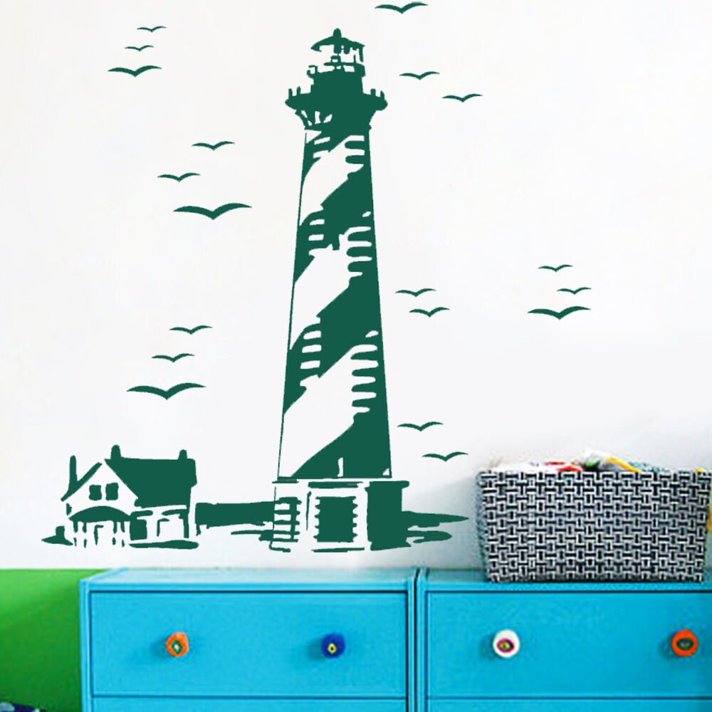 lighthouse birds sea custom vinyl wall decals sticker mural art decor