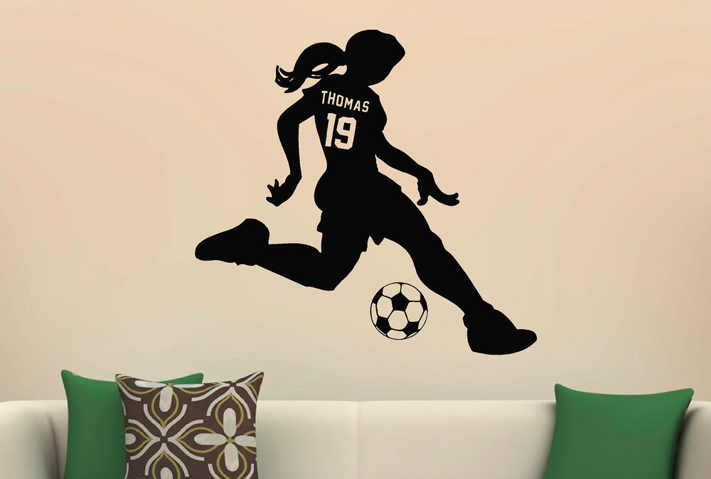 Girls Sports Soccer Vinyl Wall Decal Sticker Custom Name  Jersey - Custom cut vinyl wall decals