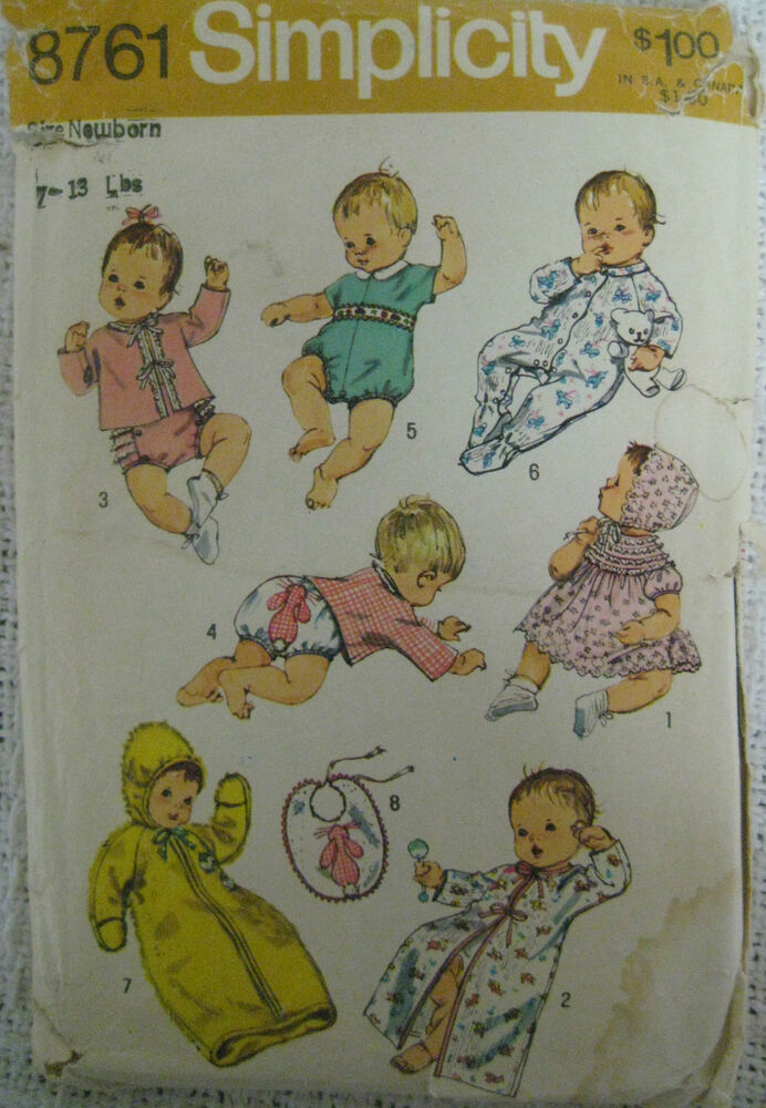 Vintage 70 S Simplicity 8761 Baby Layette Sewing Pattern