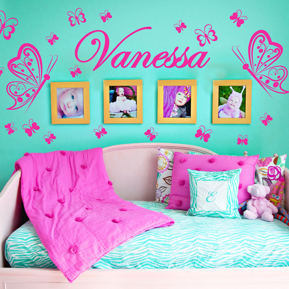 personalized name butterflies vinyl wall decals sticker art decor mural ebay. Black Bedroom Furniture Sets. Home Design Ideas