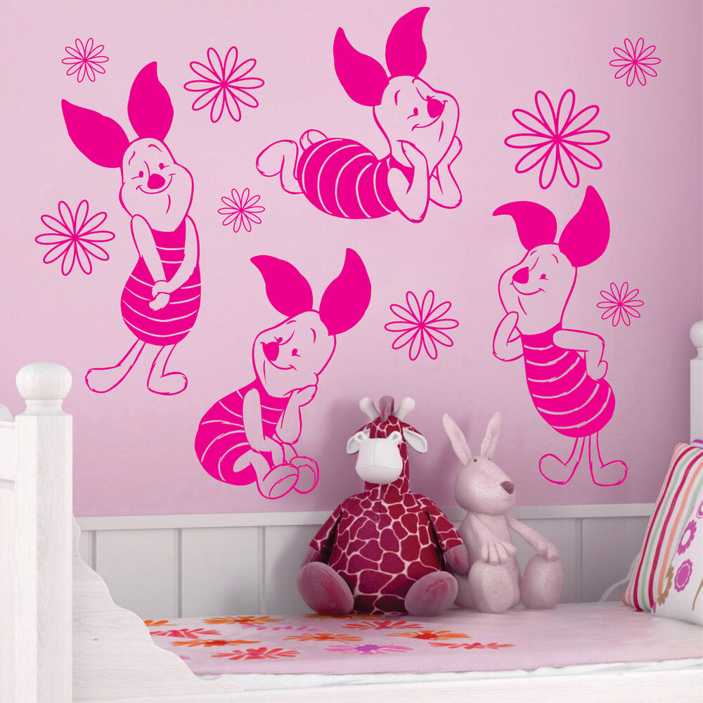 Piglet winnie the pooh daisy flower vinyl wall decals for Daisy fuentes wall mural
