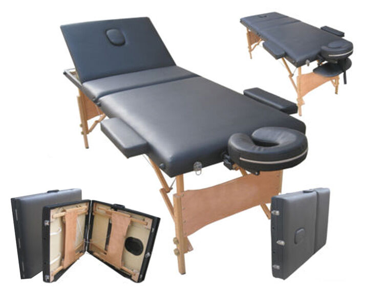 3 way black adjustable portable folding therapy beauty for Foldable beauty table