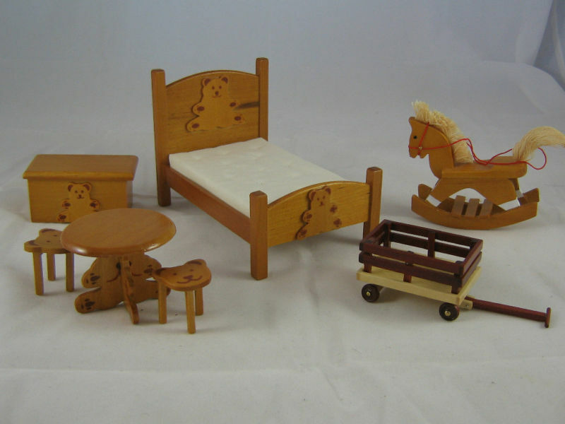 Teddy Bear Bedroom Bed Set Dollhouse Furniture 7pc T6580 1 12 Scale Wooden Ebay