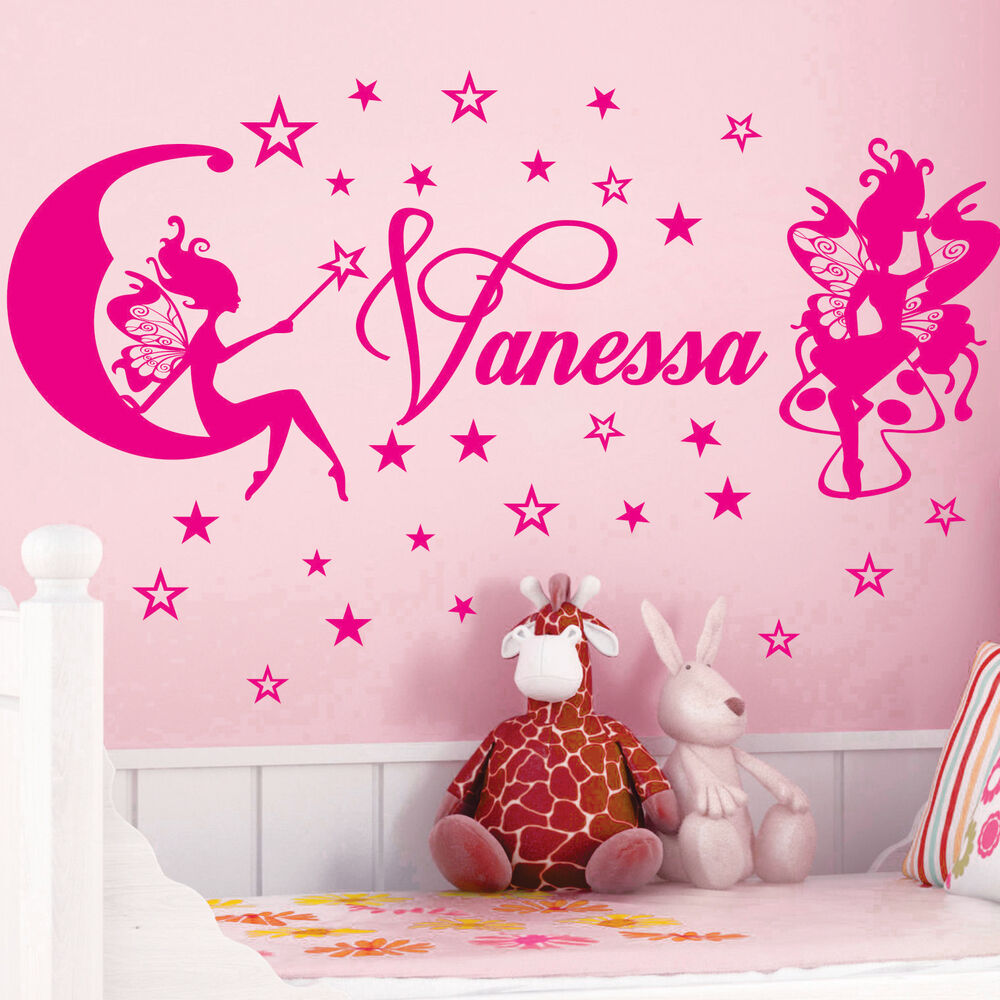 Name Wall Decals For Nursery Tags: ** FAIRIES & STARS ** Name Personal Vinyl Wall Decals