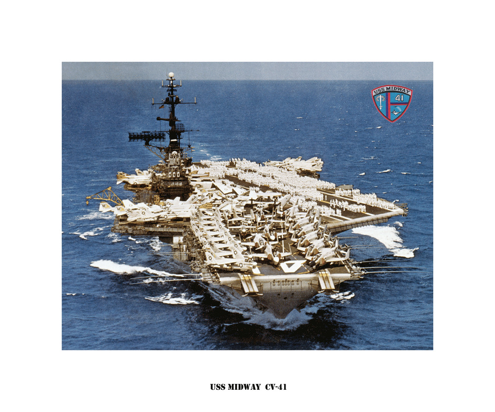 uss midway cv 41 naval ship photo print  usn navy