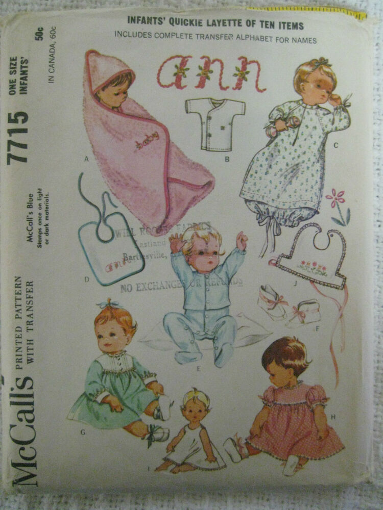 Vintage Mccalls 7715 Infant Layette Sewing Pattern