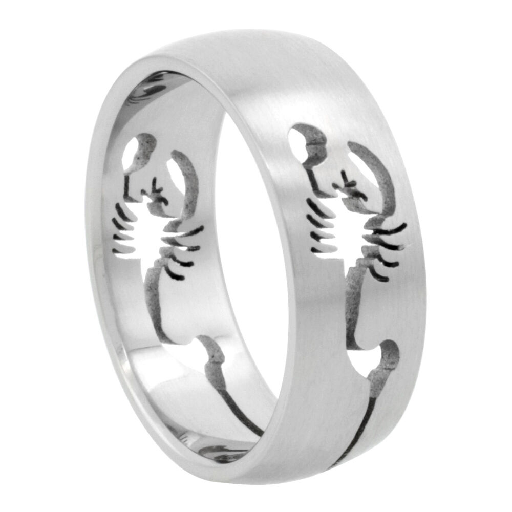Wedding Band Stainless Steel 8mm: 8mm Stainless Steel Scorpion Cut-Out Design Domed Wedding