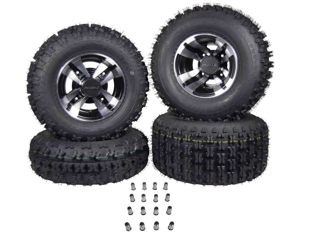 Four Wheeler With Rims: 4 NEW RAPTOR 700 ITP SS112 Black Machine RIMS On CST