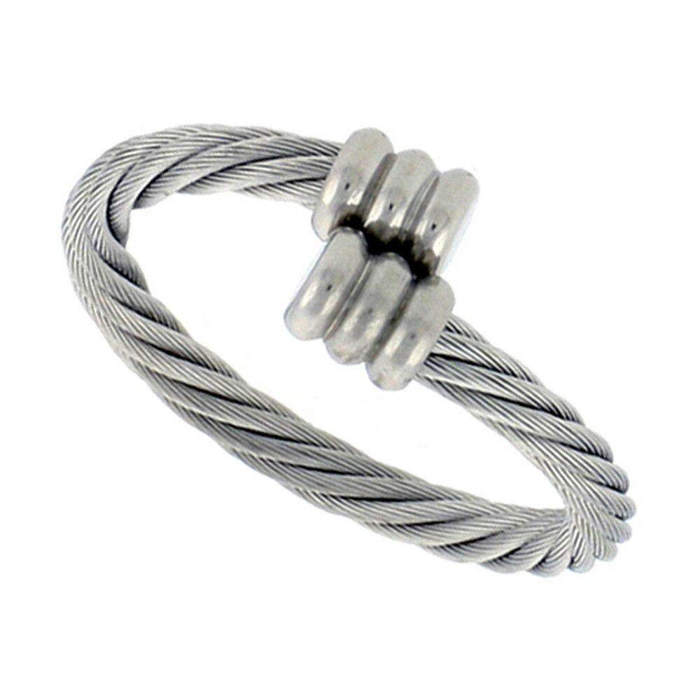 Rope Design Bands: Stainless Steel Rope Design Adjustable Cable Ring (Fits