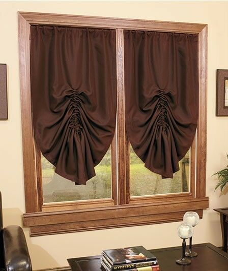 brown tie up curtain shade in stock blackout room darkening window ebay. Black Bedroom Furniture Sets. Home Design Ideas