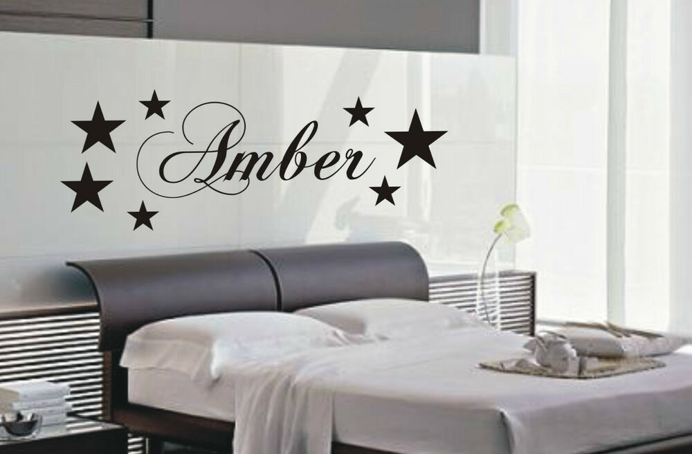 Personalised star wall art sticker name style b kid for Bedroom wall decals