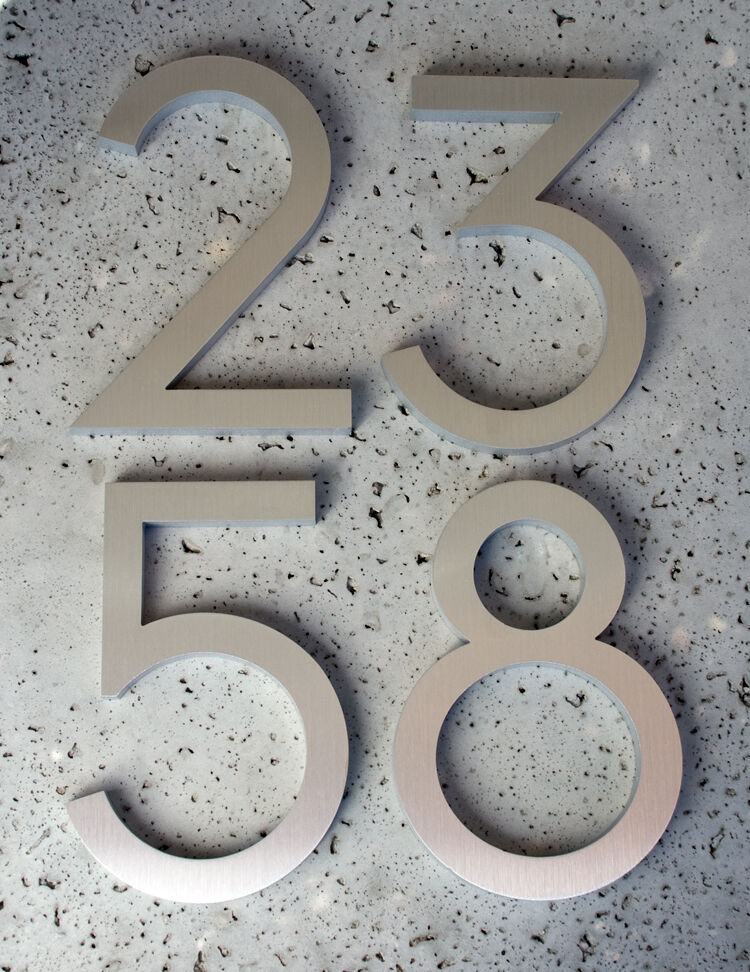 Modern House Numbers Modern Font Recycled Aluminum 6 Ebay