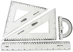 Quality 4 Piece Acrylic Drafting Tools Right Triangle