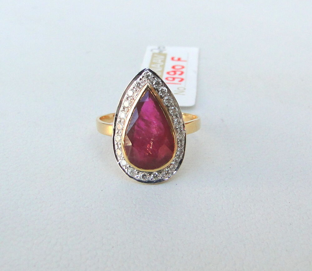 14K SOLID GOLD NATURAL RUBY & DIAMOND GEMSTONE RING INDIA