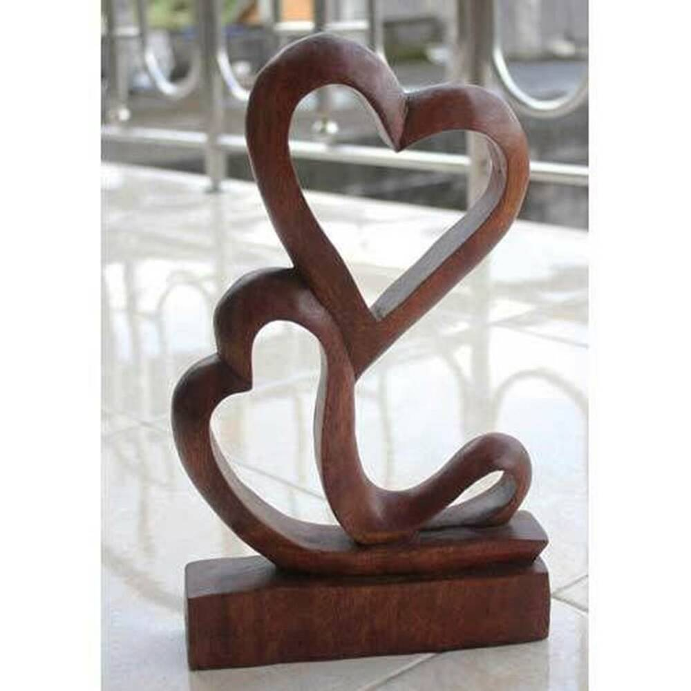 ABSTRACT LOVE HEARTS SCULPTURE CARVING 30CM SUAR WOOD HAND ...