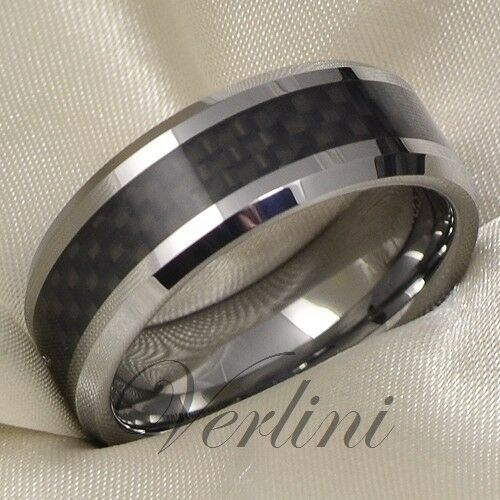 Mens Tungsten Ring Infinity Wedding Band Black Carbon Fiber Inlay Bridal Jewelry