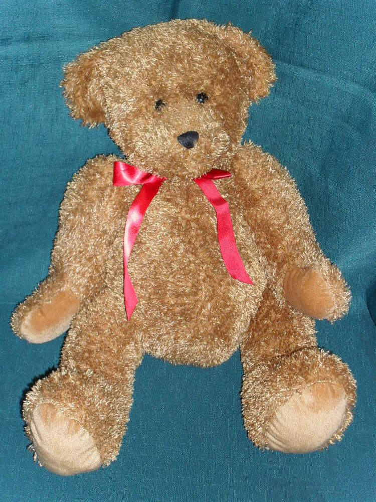 "Adorable 15"" stuffed GALERIE beanbag plush BROWN TEDDY ..."