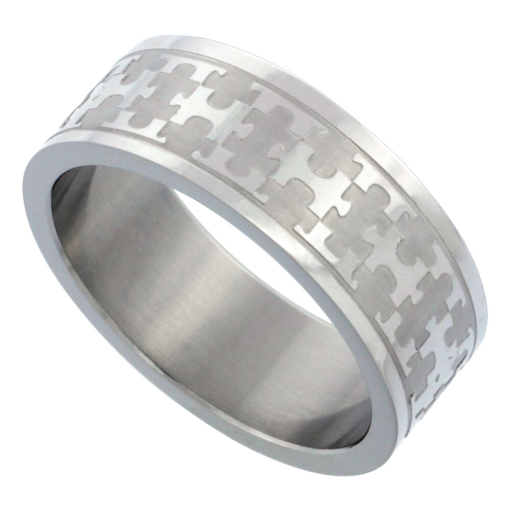 Wedding Band Stainless Steel 8mm: 8mm Stainless Steel Autism Awareness Jigsaw Puzzle Wedding