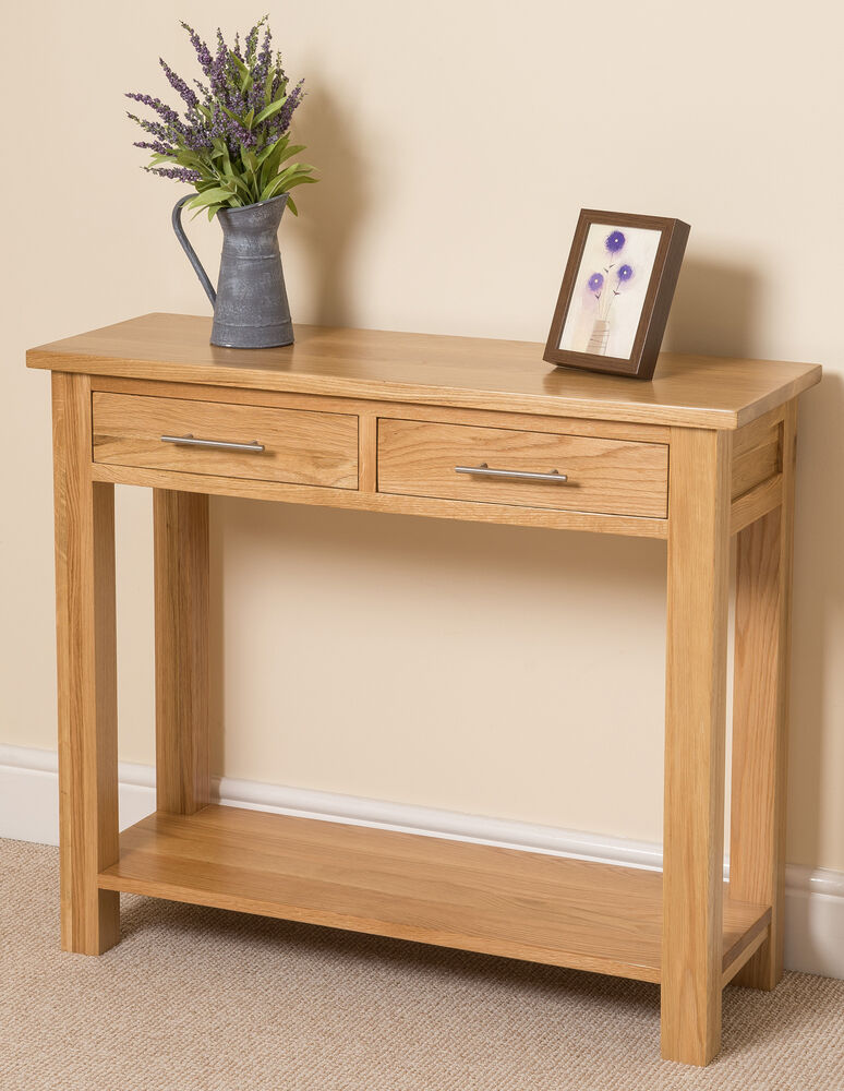 Side Table: Oslo 100% Solid Oak 2 Drawer Console Hall Side Table